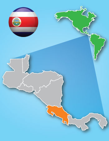 Map of Costa Rica's ubication